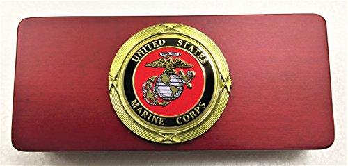 Gunmetal Rifle Bullet Pen with Marines Rosewood Gift Box -