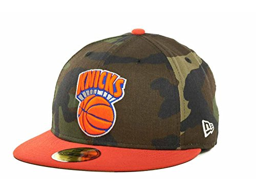 Camo 59fifty Fitted Cap - New York Knicks NBA New Era Hardwood Classic 59Fifty Fitted Woodland Camo Cap Hat (7 3/8)