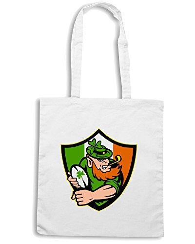 T-Shirtshock - Bolsa para la compra TRUG0030 irish leprechaun rugby fitted logo Blanco