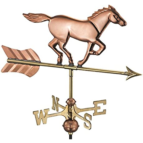 Good Directions Horse Cottage Weathervane With Roof Mount Pure Copper