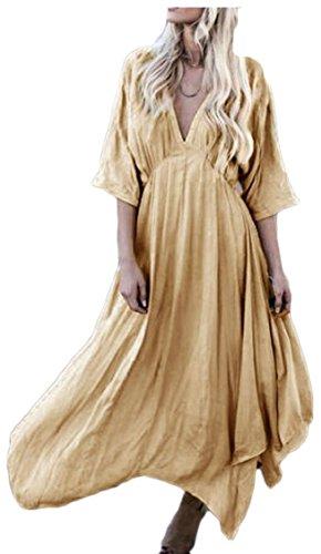 Jaycargogo Solides V-cou À Manches 3/4 Robes Maxi De Soirée Des Femmes Jaune