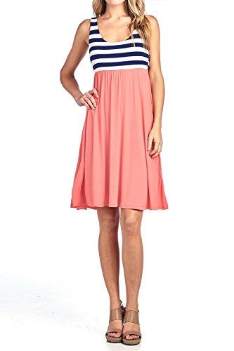 Beachcoco Women's Knee Length Printed Tank Dress (Large, Stripe/Peach Coral)