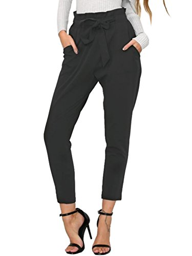 (BerryGo Women's Casual Loose High Waist Stretchy Skinny Slim Long Pants (Black,M))