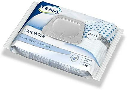 48 Wipes Tena Wet Wipes with Plastic Lid