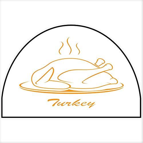 Hua Wu Chou Half Round Kitchen mathalf Round Door mat Outdoor W24 x H16 INCH Turkey on Plate