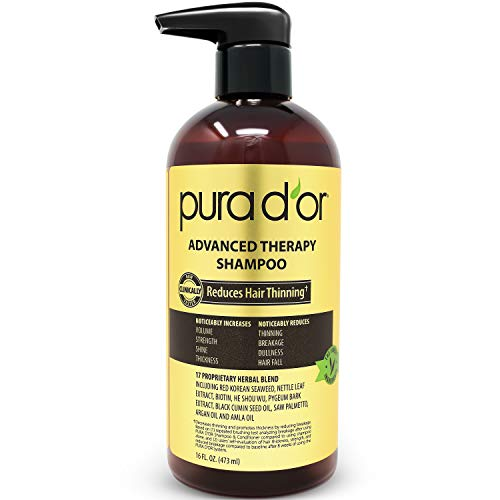 PURA D'OR Advanced Therapy Shampoo Reduces Hair Thinning and Increase Volume, Sulfate Free, Infused with Argan Oil, Aloe Vera, & Biotin, for All Hair Types, Men & Women,16 Fl Oz ()