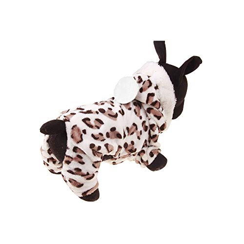 Wouke Pet Dog Warm Clothes for Small Dog Leopard Print Jumpsuit Hoodie Coat Doggy Apparel Warm Costume]()
