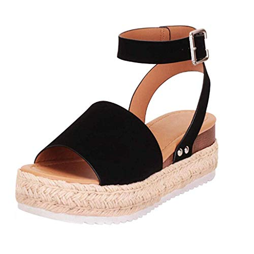 SSYUNO Women's Platform Sandals Espadrille Wedge Ankle Strap Studded Open Toe Sandals Peep Toe Beach Travel Flat Shoes Black (Prada Suede Belt)