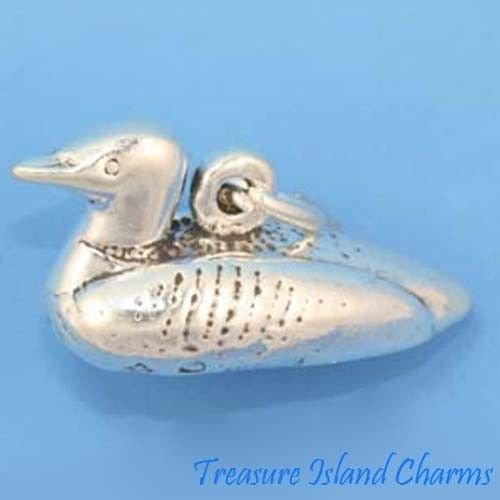 Loon Diver Bird 3D 925 Sterling Silver Charm Pendant Crafting Key Chain Bracelet Necklace Jewelry Accessories Pendants