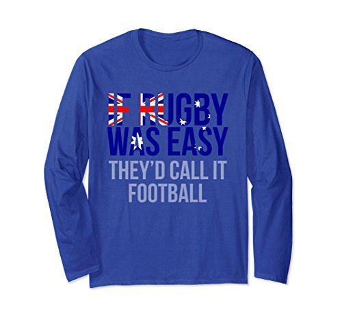 Unisex Funny Australian Rugby Long Sleeve Shirt - Australia Rugby Small Royal Blue (Australia Rugby Home Shirt)