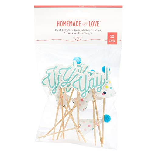 Homemade With Love 351444 Yay & Party hat Treat Toppers, Medium, Mutli