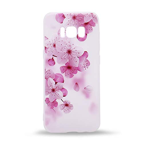 (IMIFUN 3D Relief Flower Silicon Phone Case for Samsung Galaxy S8 Plus Romantic Rose Floral iPhone Cases Soft TPU Cover (Pink Bossoms))