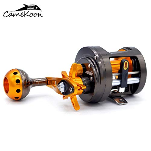 CAMEKOON CA300 All Metal Round Baitcasting Fishing Reels, 12+1 Stainless Steel Shielded Bearings, 5.5:1 Gear Ratio, Magnetic Brake Cast Drum Wheel (Right Handed - Drum Brake Cast