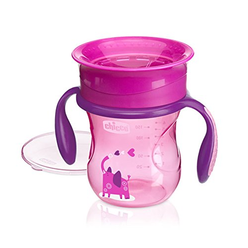 (Chicco NaturalFit 360 Degree Rim Trainer Sippy Cup with Handles, Pink, 7 Ounce)