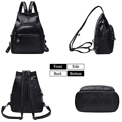 Small Leather Convertible Backpack Sling Purse Shoulder Bag for Women (Black1) by Vintga (Image #3)