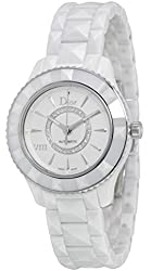 Christian Dior VIII White Diamond-set Dial White Ceramic Ladies Watch CD1235E3C001