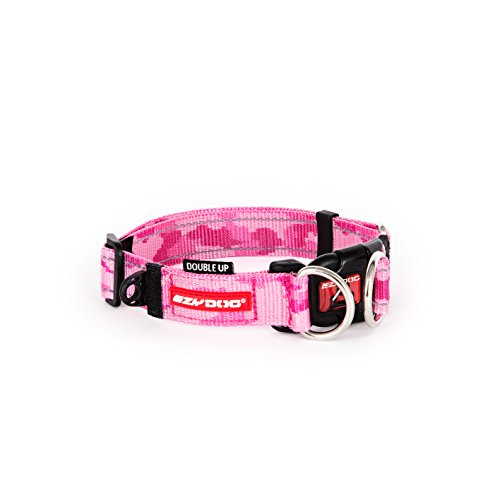 EzyDog Double Up Premium Nylon Dog Collar with Reflective Stitching - Double D-Rings for Superior Strength, Safety, and Comfortability - Non-Rusting and Includes an ID Attachment (Large, Pink Camo)