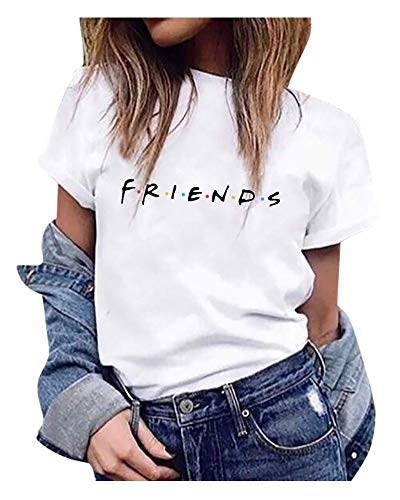 Qrupoad Womens Friends TV Show T Shirts Summer Casual Short Sleeve Graphic Shirt Tees Tops White from Qrupoad
