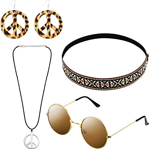 Hicarer Hippie Costume Set Include Sunglasses, Headband, Peace Sign Necklace and Earring (Bohemian Brown Style) from Hicarer
