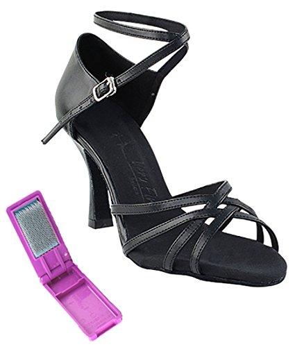 Zeer Fijne Ballroom Latin Tango Salsa Dansschoenen Voor Dames Sera1606 2,5 Inch Hak + Opvouwbare Borstelbundel Zwart