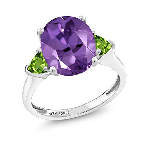 Gem Stone King 3.02 Ct Oval Purple Amethyst Green Peridot 10K White Gold 3 Stone Engagement Ring (Size 5)