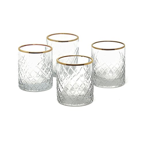 Serene Spaces Living Etched Glass Votive Holder, Set of 4 (Etched -