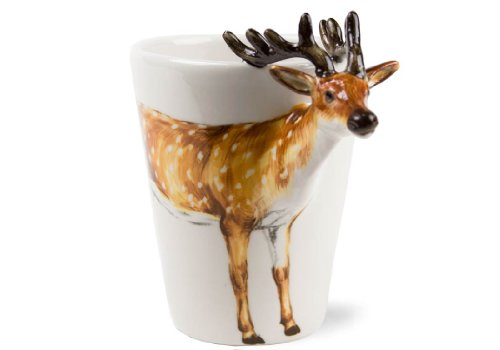 Deer 8oz Brown Handmade Coffee Mug (10cm x 8cm)