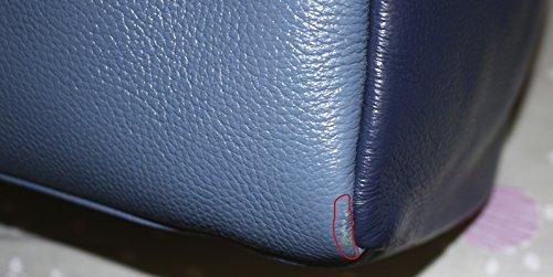 B-L'ARTICLE BELUCIA AREZZO Grand Sac porté main,Sac à main,véritable cuir de veau de grain,Bicolore Bleu