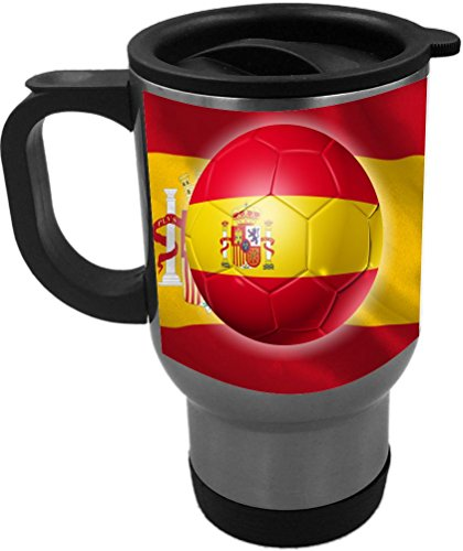 Rikki Knight Russia World Cup 2018 Spain Team Football Soccer Flag Design 14oz Stainless Steel Travel Mug by Rikki Knight