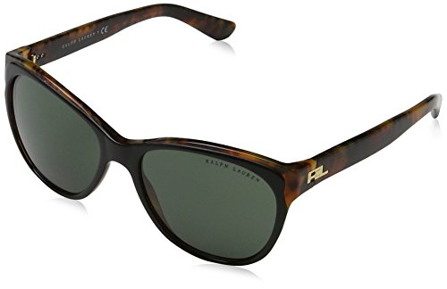 Ralph Lauren Sunglasses Women's Acetate Woman Cateye Sunglasses, Top Black/Havana Jerry, 56 - Brands Top Sunglasses