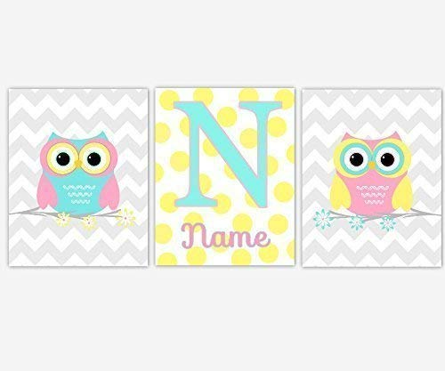Baby Nursery Decor CANVAS Wall Art - Personalize Name, Owls, Pink, Yellow, Set of 3