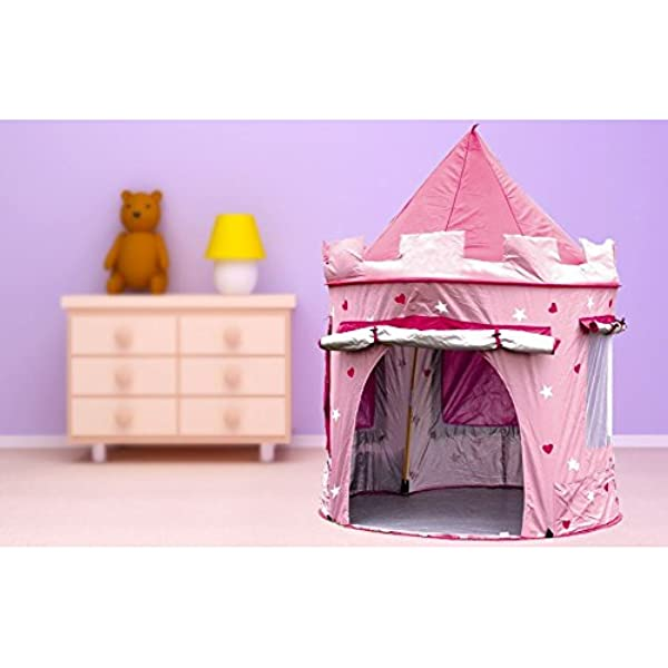 Beauty4Less Wido Childrens Kid Pink Castle Pop Up Tent Play House Indoor Outdoor Garden Girl