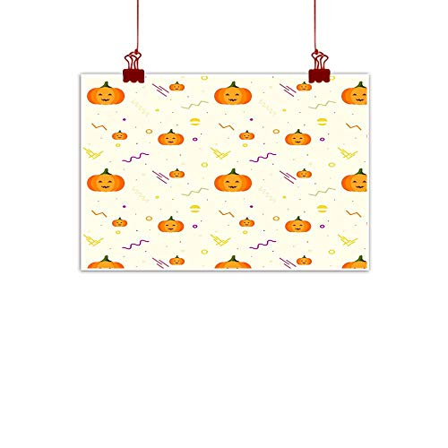 Mannwarehouse Light Luxury American Oil Painting Halloween Pattern with Pumpkins and Geometric Shapes Halloween Dynamic Pattern Home and Everything 24