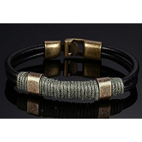 d9cb4e3f91ad Delicado joielavie joyas pulsera cuerda trenzado de doble capa de piel  Vintage de aleación de bronce