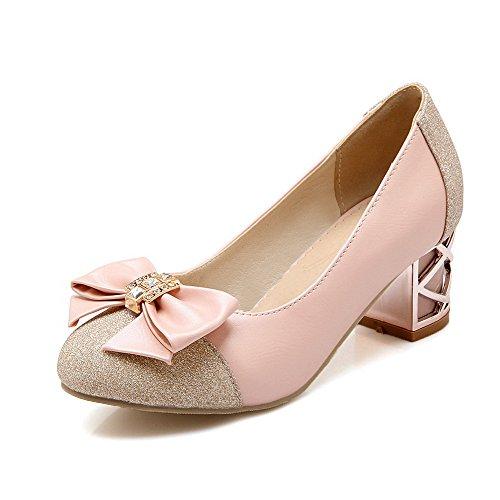 VogueZone009 Damen Ziehen auf Niedriger Absatz Blend-Materialien Eingelegt Pumps Schuhe, Schwarz, 38