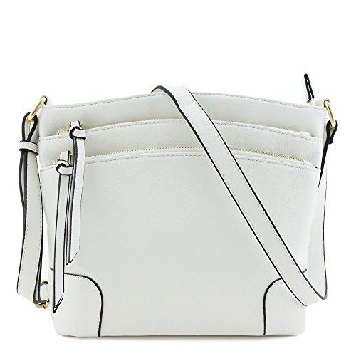 Triple Zipper White Bag Medium Pocket Crossbody PnPqAvcxrw