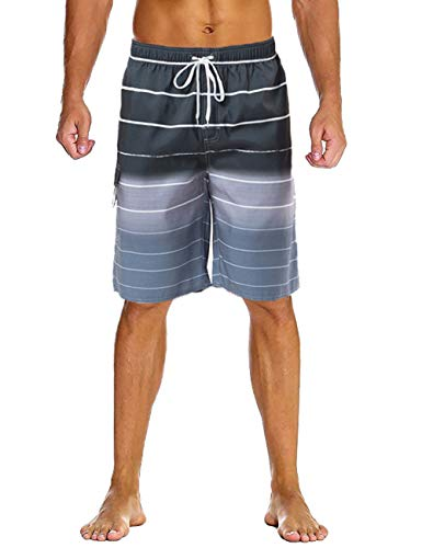Lncropo Mens Quick Dry Swim Trunks Striped Beach Board Shorts with Lining and 3 Pockets(B8-Gray, 4XL) (Trunk Waist Elastic)