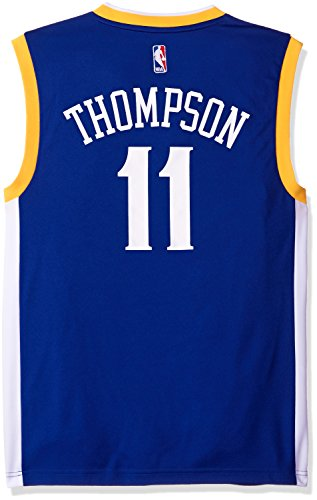 Blue Adidas Nba Jersey - adidas NBA Men's Golden State Warriors Klay Thompson Replica Player Stretch Jersey, Large, Blue