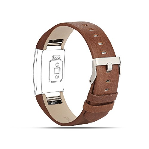 For Fitbit Charge 2 Bands, Genuine Leather Replacement Bands for Fitbit Charge 2 Coffee Brown