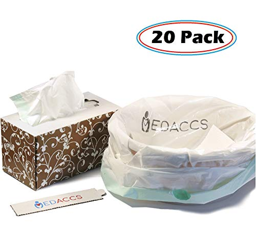 Bedside Commode Liners and Absorbent Pads Disposable 20 Pack - for Elderly, Sick Patients, Nurses - Bathroom Set for Toilets, Buckets, Pails - Leak-Proof, Eco-Friendly, Biodegradable ()