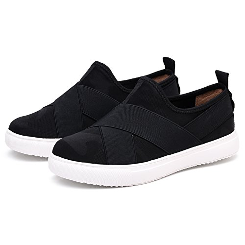 Tiosebon Dames Flex Slip Op Sneakers Ronde Neus Schoenen Fashion Lightweight Sneaker 6752 Zwart