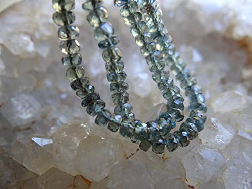 (GemAbyss Beads Gemstone AAA Blue Green Grey Shaded Songea Sapphire | Faceted Rondelles | ~2.9-3.75mm | Sold in Sets of 12 Rondelles Code-MVG-32251)