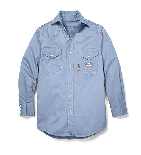 Rasco FR Work Blue Western Shirt with Snaps 7.5 oz - WR753,Work Blue,LG-Reg