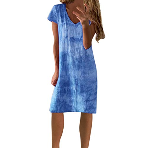 (LIM&Shop  Summer Shirt Dress Casual Mini Dress Short Sleeves Printed Crew Neck T-Shirt Knee-Length Skirt Gradient Top Blue)