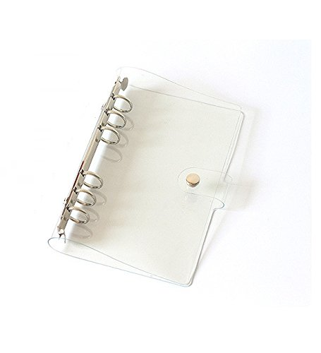 Chris.W 1Pack Transparent Soft PVC 6-Ring Binder Cover w/ Snap Button Closure for Ring-Bound Planner Pages, A6 Size(Inner Paper Not Included)