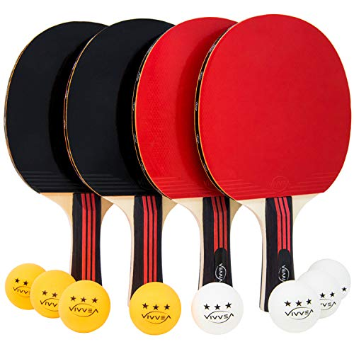 VIVVEA Ping Pong Paddle Set - 4 Premium Table Tennis Rackets Pack, 8 Professional Balls and Portable Cover Case Bag - Pro Trainning and Recreational Ping-Pong Paddles Ideal for Outdoor or Indoor Games