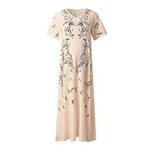 Outique Women Long Dress Pregnant Maternity Nursing Solid Breastfeeding Print Summer Cotton Blend Maternity Dress -