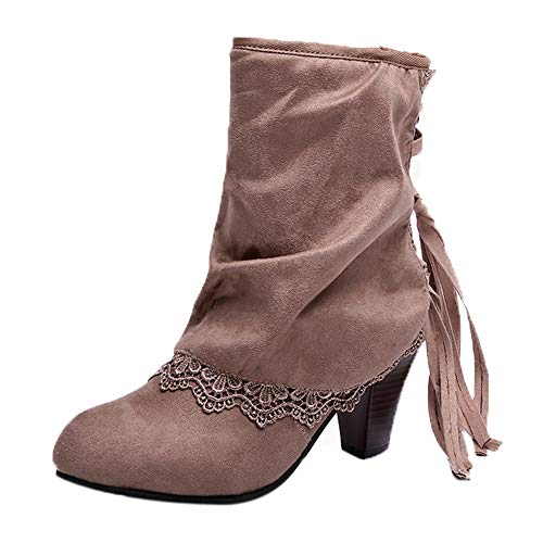 Byste Women Casual Suede Leather Sexy High Heels Patchwork Buckled Laces Walking Boots Round Toe Ankle Boots Autumn Winter Slouch Boots Lance High Slip On Boots Khaki