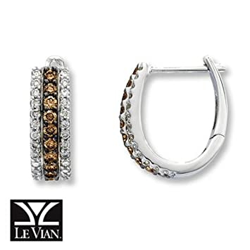 412beb6ae Amazon.com: Jared LeVian Chocolate Diamonds|3/4 ct tw Hoop Earrings|14K Gold-  Earrings: Everything Else