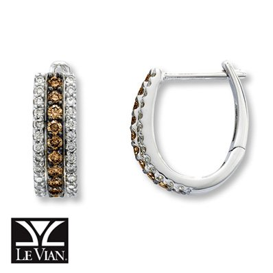 Amazoncom Jared LeVian Chocolate Diamonds34 ct tw Hoop Earrings